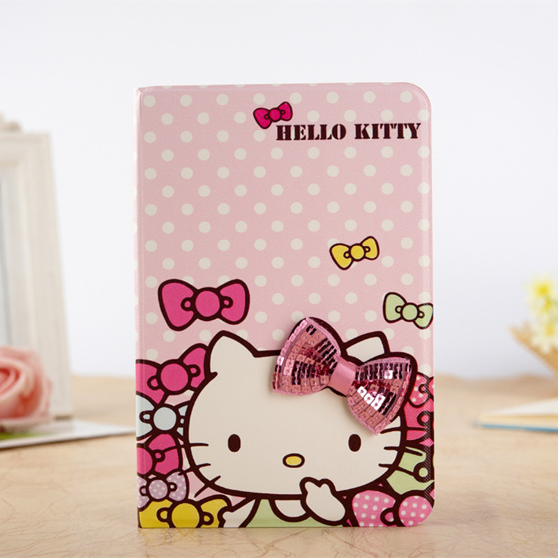 Cute Cartoon 3D Bowknot Hello Kitty Case For iPad Mini 4 KT Cover Stand Leather For Apple iPad Mini4 Case Tablet Cover Funda<br><br>Aliexpress