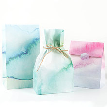 3 pcs/set 23 * 13cm watercolor Dyeing Paper Best Gift Bags with Sticker for Christmas Wedding Party Candy Food Packaging bag(China)
