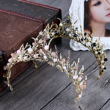 fashion Women Crystal Baroque beads hair jewelry Golden leaves Crown bride wedding jewelry Flower hair accessories gift GL-001