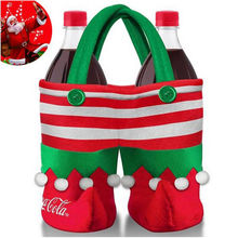 Fancy Cover Xmas Dinner Party Table Decor Merry Christmas Santa Wine Bottle Bag New Year Decoration Festival Accessories