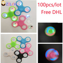 Free DHL 100pcs/Lot LED Flash Light EDC Hand Spinner Anti Reduce Stress Fidget Toy With Switch ADD ADHD Autism Boring Annoying