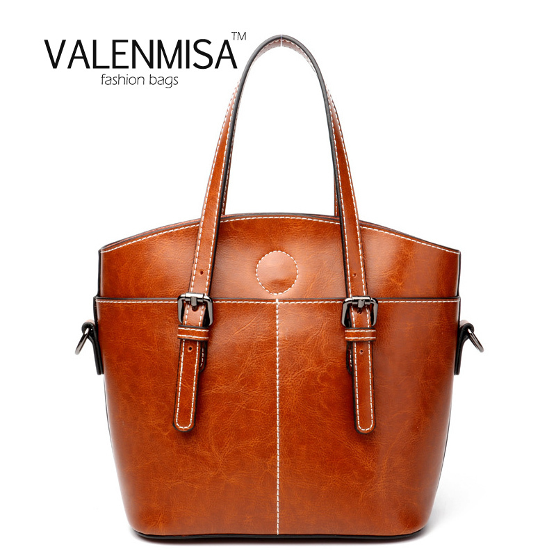 VALENMISA 2018 Women Genuine Leather Bag Large Capacity Luxury Handbags Women Bags Designer Women Tote Bag Brown Crossbody Bag<br>