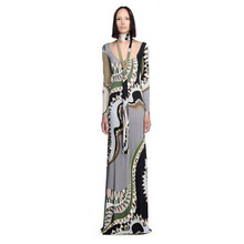 New Arrival Elegant Printed Stretch Jersey Long Sleeve Slim Maxi Dress Long Dress  EP594c