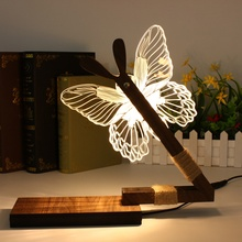 Fashion 3D Butterfly LED Desk Night Warm Light Acrylic Dimmable Table Lamp For Home Holiday Christmas Wedding Gifts Craft(China)
