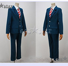 Anime Wolf Girl and Black Prince Cosplay Sata Kyouya Costume School Uniform Set Suit+tie+shirt+knitted sweater+pants(China)