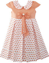 Sunny Fashion Girls Dress Polka Dot School Uniform Bow Tie Pearl Cap Sleeve 2018 Summer Princess Wedding Party Dresses Size 4-14(China)