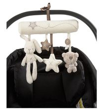 Newborn  baby Rabbit Hanging Bed Safety Seat Plush Toy Hand Bell Multifunctional Plush Toy Stroller Mobile Gifts