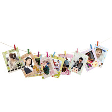 "9 Pcs 6"" Cartoon Animal Hanging Album Photo Frame Clips Rope Wall Decor Gift(China)"