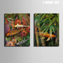 Free Shipping E-HOME Fish And Plants Clock in Canvas 2pcs wall clock(China)