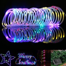 10pcs 7M 50 LED Solar Rope Tube Led String Strip Fairy Light Outdoor Garden Xmas Christmas Party Decor Waterproof