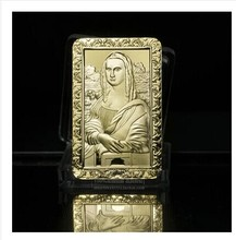 1 oz LEONARDO DA VINCI MONA LISA COMMEMORATIVE GOLD BULLION BAR NEW 5PCS/LOT FREE SHIPPING