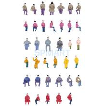 50pcs Painted Model Train HO Seated People Passengers Figures 1:87 HO Scale Free Shipping(China)
