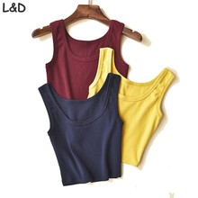 Women Short  Crop Top,14 Colors Summer Style Sleeveless U Croptops Fitness Tank Tops,Femme Vest Tube Top