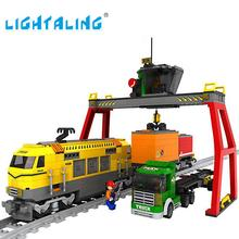 Lightaling Building Blocks Yellow Express Train Rayway Station Bricks Model Children's Educational Toys Gift
