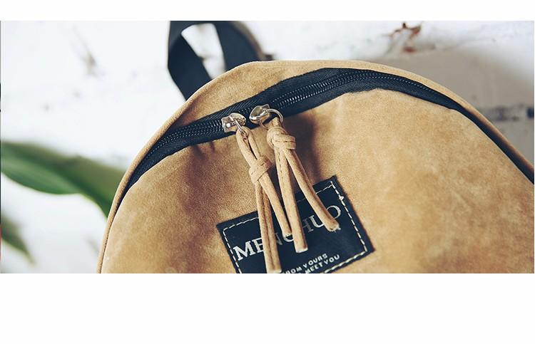 2016 New Women Backpack Preppy Style Suede Backpacks Teenage Girls School Bags Vintage Rivet Travel Backpack Burgundy Gray Black (63)
