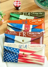 Hot sale student stationery new arrival fashion cute retro National Flag style PU pencil bag case.diy fun pencil holder pouch.ma