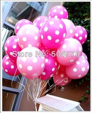 100pcs/lot 12inch Korea Neo Pink Dot Tone Inflation Balloons For Wedding Party Room Decors Latex Balloon
