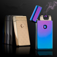 Hot Classic Brand Pulsed Arc Lighter Metal USB Charging Windproof Lighters Electronic Cigarette Lighter Gifts -JL301(China)