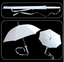 "S2716 BLEACH XIUBESUO SODE NO SHIRAYUKI WHITE SAMURAI SWORD UMBRELLA W/ BAG 40""(China)"