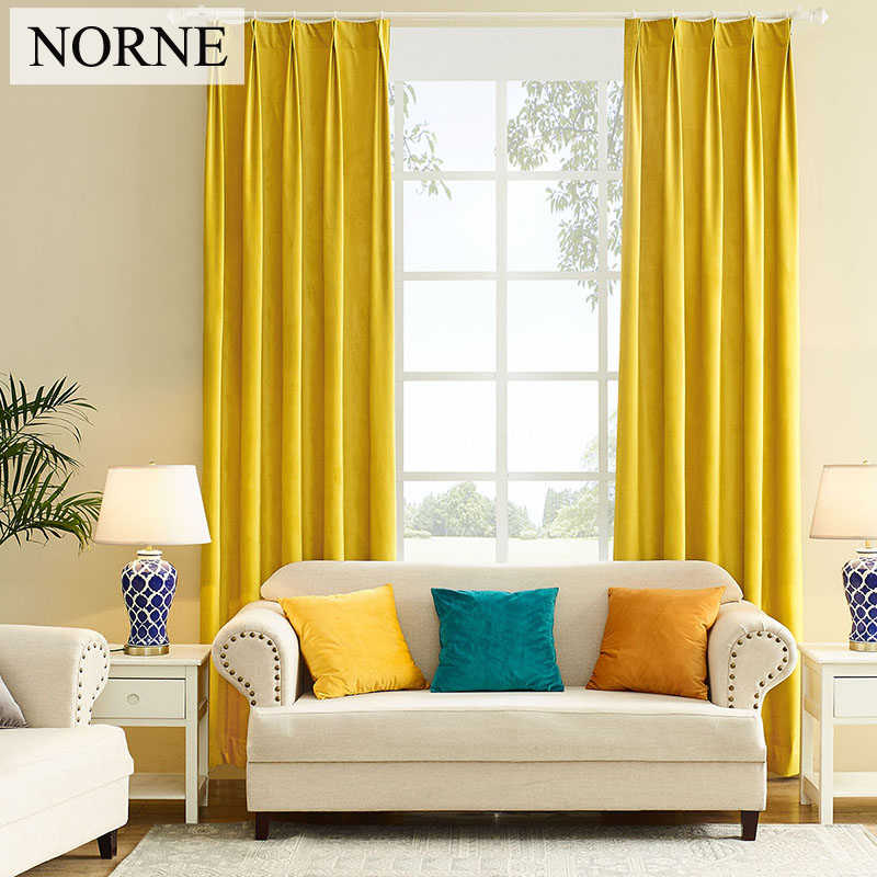 NORNE Modern Solid Luxurious Velvet Blackout curtain Super Soft Window Curtains Drapes Shades for Theater Living Room Bedroom