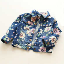 Girls Clothing Coats 2017 Autumn New Children's Clothing Fashion Personality Floral Denim Jackets