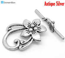 Doreen Box Lovely 10 Sets Silver Tone Flower Toggle Clasps 20x30mm (B00030)