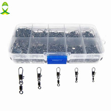 JSM 150pcs Rolling Fishing Swivel With Interlock Snap Sea Fishing Rolling Swivel Connector Set With Box Carp Fishing Accessories(China)