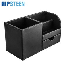 HIPSTEEN Multifunction PU Leather Office Desk Organizer Stationery Pen Holder Storage Box - Black