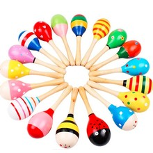 Colorful Wooden Maracas Ball Rattle Toys Baby Kids Musical Instrument Percussion Rattle Shaker Party Children Gift Toy