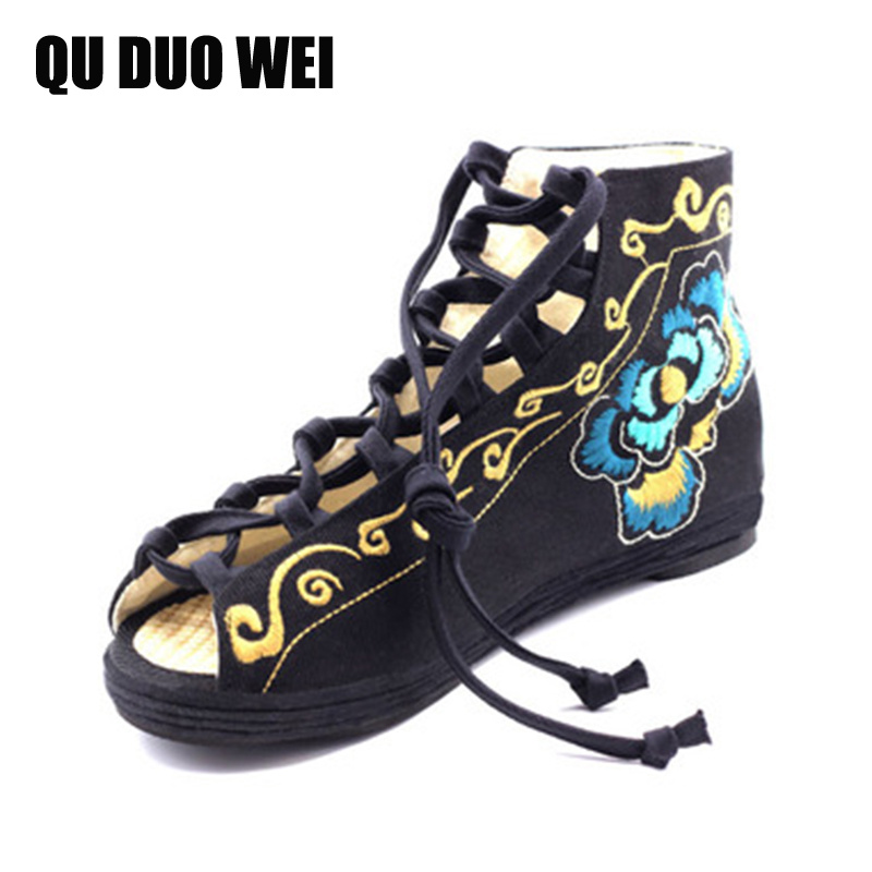 Summer Gladiator Sandals Platform Shoes Woman Lace-Up Creepers Chinese Style Embroidered Cloth Peep Toe Flats Women Canvas Shoes<br><br>Aliexpress