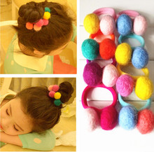 2 Pcs/ Set  Candy Color Wool Felt Fabric Balls Kids Hair ties Girls' Hair Bands Hair Accessories