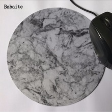 Babaite Hot Sizes 20*20 And 22*22 cm Rubber Marble Pattern Mouse mat Personalized mouse pad pure color round black mousepad