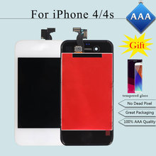 100% Brand New Touch Screen for iPhone 4/4s LCD Display AAA Quality Digitizer Assembly Replacement Black/White + tempered glass