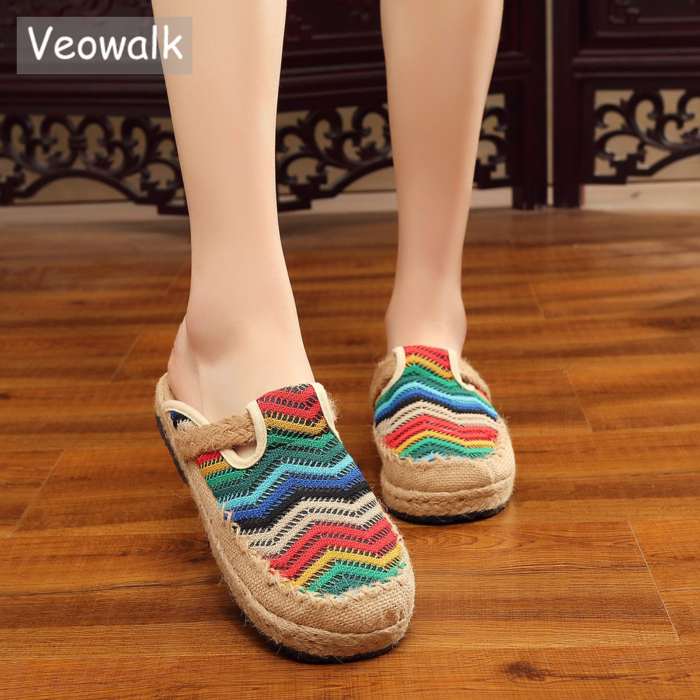 Womens Floral Embroidered Mule Slide Espadrille Slippers Summer Fashion Shoes US