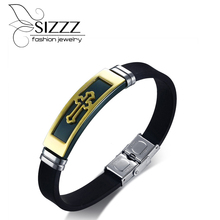 SIZZZ New listing of small jewelry wholesale gold black cross silicone bracelet&bangles for men(China)