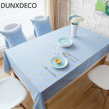 DUNXDECO 1PC Fresh Country Style Banana Blue Table Cloth Linen Cotton Decorative Table Cover Home Store Decoration Photo Prop