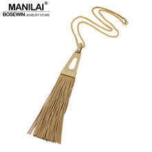 Bohemia Style Women Long Necklaces High Quality Alloy Real Leather Tassels Necklaces & Pendants Statement Indian Jewelry(China)