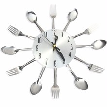 Sliver Cutlery Kitchen Wall Clocks Home Decor Spoon Fork Wall Clock Watch Creative Mirror Wall Stickers 2017 New WCK003