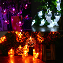Hot 3pcs/lot 20LED Halloween Fairy String Lights Decorated In All Saints' Day(White Crystal Ghost + Orange Pumpkin + Purple Bat)(China)