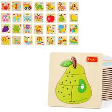 Cute Multi-layer 3D Wooden Puzzle Jigsaw Toy Cartoon Dinosaur Animal Transport Pattern Jigsaw Puzzle Toy Shape Matching(China)