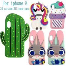 For Iphone X Case HOT 3D Silicone Cactus Unicorn Cupcake Bunny Judy Cartoon Soft Phone Back Skin Cover Case for Iphone X(China)
