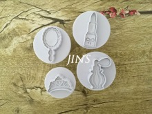 4PCS/LOT Perfume, mirror ,Lipstick ,crown Sample Plastic Cookie Cutter, Fondant Cake Tools, Cake Decorating DIY Molds 020168(China)