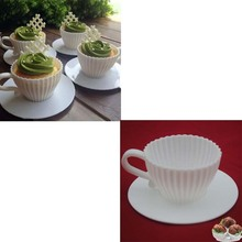 4pcs/set White Silicone Cupcake Cups Muffin Baking Cake Tea Saucers Teacup Mold with Saucers