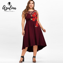 Buy AZULINA Ladies Dress Vestidos Mujer Plus Size Women Clothing Sleeveless Floral Embroidery High Low Dresses Vintage Party Dress for $17.13 in AliExpress store