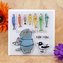 FOR YOU Cat Bird Fish Scrapbook DIY photo cards account rubber stamp clear stamp transparent stamp 10.5x10.5cm KW7052211