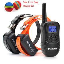 Petrainer PET998DB Blue LCD Display Remote Dog Training Collar Rechargeable and Waterproof Training Collar 300m for 1 or 2 dogs(China)