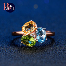Bwell Multi Gemstone Topaz Citrine Peridot Adjustable Ring 925 Sterling Silver Rose Gold Plated Fine Jewelry For Women BWRI002