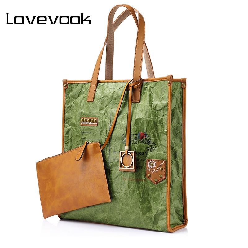 LOVEVOOK brand women big handbag retro kraft paper folds large capacity tote bag female envelope pattern pendant shoulder bag<br>
