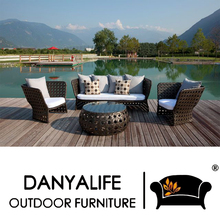 DYSF-D441B Danyalife Deluxe Villa Outdoor Furniture Poly Rattan 3+1 Sofa Set(China)