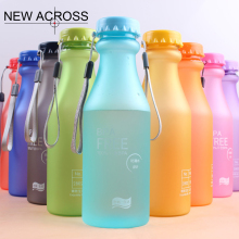 JUH 1Pcs Candy Color Bottle Frosted Plastic Sealed Bottle Wholesale Portable Sports Bottle 550Ml(China)
